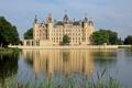 Картинка пруд, Schwerin, вода, замок, Германия, деревья, камыши