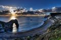 Картинка море, небо, солнце, облака, закат, скалы, побережье