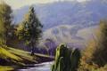 Картинка деревья, природа, река, холмы, арт, ивы, artsaus