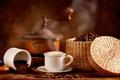 Картинка кофе, крем, кофейные зерна, аромат, пенка, кофемолка