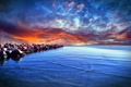Картинка камни, берег, небо, облака, зарево, вечер, море