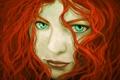 Картинка взгляд, девушка, лицо, волосы, арт, веснушки, кудряшки