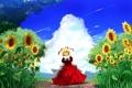 Картинка небо, трава, девушка, облака, радость, подсолнухи, природа