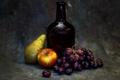 Картинка фото, бутылка, яблоко, стилизация, виноград, груша, натюрморт