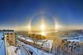 Картинка зима, солнце, halo