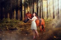 Картинка лес, девушка, конь