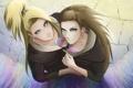 Картинка цветок, взгляд, девушка, улыбка, парень, Наруто, Naruto