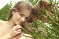 Картинка взгляд, девушка, ветки, лицо, милая, волосы, елка