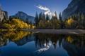 Картинка trees, sunset, Yosemite, autumn, mountains, pond