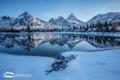 Картинка зима, лес, снег, горы, озеро, Alberta, Canada