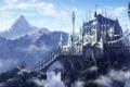 Картинка облака, мост, замок, скалы, высота, гора, арт