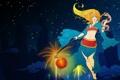 Картинка League of Legends, звезды, небо, ночь, девушка, Janna, фонарь