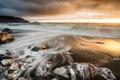 Картинка песок, пляж, камни, рассвет, Pacifica, Rockaway Beach