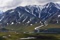 Картинка природа, горы, снег, гряда, зелень