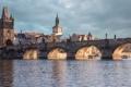Картинка небо, башня, дома, Прага, Чехия, Карлов мост