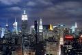 Картинка нью-йорк, night, midtown manhattan, ночь, new york, огни, nyc