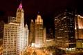 Картинка ночь, огни, небоскребы, чикаго, Chicago