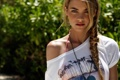 Картинка взгляд, фото, модель, блондинка, коса, красивая, model