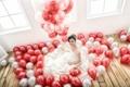 Картинка азиатка, девушка, шары