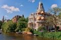 Картинка деревья, дом, лодка, Амстердам, канал, Нидерланды, Holland