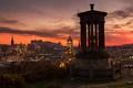 Картинка закат, огни, Шотландия, сумерки, Эдинбург, старый город, смотровая площадка