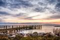 Картинка закат, пирс, залив
