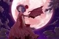 Картинка облака, ночь, луна, крылья, демон, remilia scarlet, Touhou