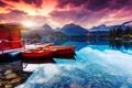Картинка деревья, горы, лодки, вечер, домик, мостик, горное озеро
