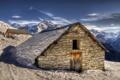 Картинка пейзаж, горы, дом, France, Rhone-Alpes, La Plagne