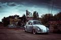 Картинка Volkswagen, Жук, Свалка, Beetle, AC/DC, Пасмурно, Поломанный