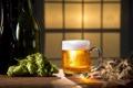 Картинка пена, пиво, колоски, кружка, бутылки, хмель