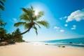 Картинка песок, пляж, небо, солнце, облака, камни, океан