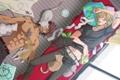 Картинка кошки, комната, диван, парни, котэ, спят, barnaby brooks jr