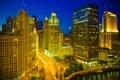 Картинка ночь, город, река, Чикаго, иллюминация, Иллиноис
