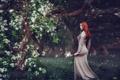 Картинка трава, девушка, деревья, парк, настроение, фигура, платье