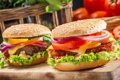 Картинка макро, еда, Closeup of two homemade burgers made from fresh vegetables