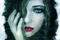 Картинка девушка, лицо, рисунок, рука, арт, губы, ronindude