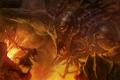 Картинка огонь, камни, воин, Арт, титан, атака, рык