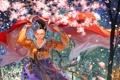 Картинка девушка, цветы, природа, аниме, лепестки, сакура, арт
