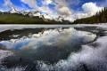 Картинка лед, лес, небо, облака, деревья, горы, озеро