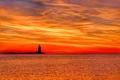 Картинка море, небо, облака, закат, маяк, зарево