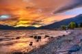 Картинка небо, пейзаж, горы, природа, озеро, камни, обои