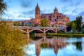 Картинка мост, река, дома, City, Испания, Spain, Salamanca