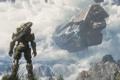 Картинка облака, оружие, скалы, транспорт, молния, человек, броня