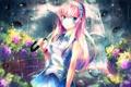 Картинка девушка, капли, цветы, дождь, зонт, арт, vocaloid