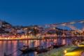 Картинка мост, огни, река, дома, лодки, Португалия, Portugal