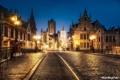 Картинка ночь, город, огни, дома, Бельгия