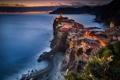 Картинка закат, вечер, Италия, городок, Вернацца, провинция Специя