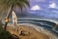 Картинка песок, море, волны, пляж, пальмы, бутылка, чайки