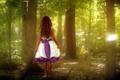 Картинка лес, природа, стиль, настроение, девочка